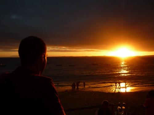 Pôr-do-sol no Porto da Barra